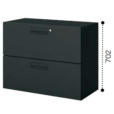 コクヨ KOKUYO エディア〈ブラックタイプ〉H700タイプ ラテラル2段 下置き ベース必要 W900×D450×H702 BWU-L2A39F6