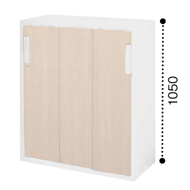 コクヨ KOKUYO エディア EDIA 3枚引き違い戸 下置き ベース必要書庫 木目タイプ 本体色ホワイト 扉色ホワイトナチュラル W800*D400*H1050 BWU-HD358SSAWE10