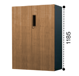 コクヨ KOKUYO エディア EDIA 両開き扉 下置き書庫 ベース必要 木目タイプ 本体色ブラック 扉色ラスティックミディアム/アッシュブラウンW800*D400*H1185 BWU-SD68SF6DP2/BWU-SD68SF6DG5