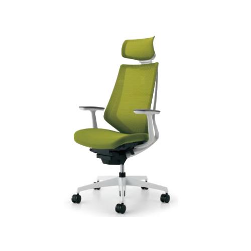 コクヨ KOKUYO オフィスチェア Duora デュオラチェア ヘッドレスト付き T型肘 ランバーサポートなし 樹脂脚(ホワイト/クリーンテクトコーティング) CR-GW3005E1※-W