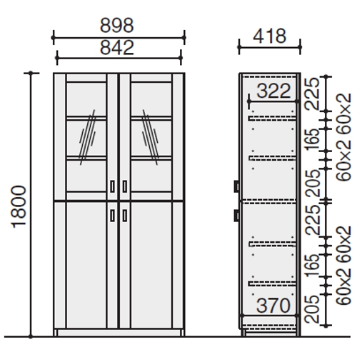 S350 両開き書棚 サイズ