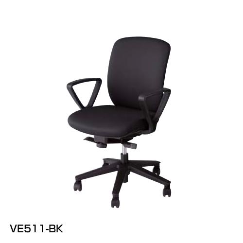 ナイキ NAIKI オフィスチェア VIALE ヴィアーレチェア ミドルバック ビニールレザー張り ループ肘付 VE511-BL/VE511-BK