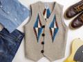【限定生産サイズ】オルテガ 手織りチマヨベスト 83RG-3489 サイズ34 オートミールグレー