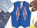 【限定生産サイズ】オルテガ 手織りチマヨベスト 83RG-3490 サイズ34 ロイヤルブルー