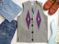【限定生産サイズ】オルテガ 手織りチマヨベスト 83SQ-3430 スクエアフロント・タイプ サイズ34 ヘザーグレー