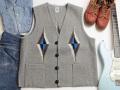 【限定生産サイズ】オルテガ 手織りチマヨベスト 83SQ-4603 スクエアフロント・タイプ サイズ46 ヘザーグレー