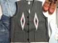 【限定生産ビッグサイズ】オルテガ 手織りチマヨベスト  スクエアフロント・タイプ サイズ48 チャコールグレー