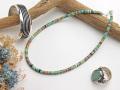ナバホ 04-0121 リンダ・フレイザー作 オールド・キングマンターコイズ・ネックレス 全長約44〜49cm(可変)