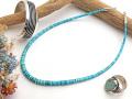 ナバホ 04-0122 リンダ・フレイザー作 オールド・キングマンターコイズ・ネックレス 全長45〜50cm(可変式)