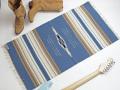 オルテガ 842040-113 手織りチマヨ・ブランケット 50x100cm サックスブルー