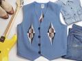 オルテガ 手織りチマヨベスト 83RG-4454 サイズ44 サックスブルー