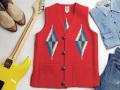 オルテガ 手織りチマヨベスト 83SQ-3683 スクエアフロント・タイプ サイズ36 スカーレットレッド