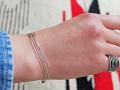 ナバホ 02-0454 リキッドシルバー・ブレスレット 5連 全長約18cm
