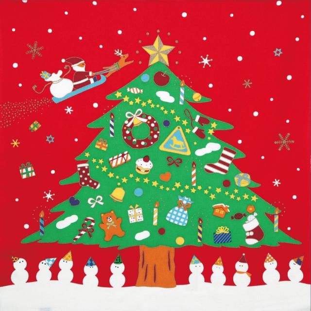 丹後ちりめん友仙ふろしき 約68cm/クリスマス/C212-2206