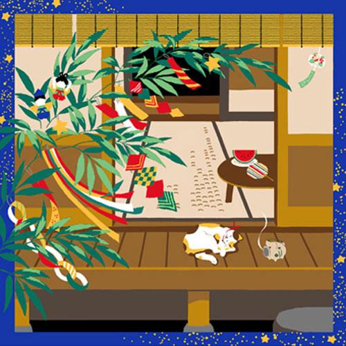 三毛猫みけの夢日記 綿小風呂敷 約50cm みけの七夕/7月/M112-3904