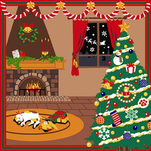 三毛猫みけの夢日記 綿小風呂敷 約50cm みけのクリスマス/12月/M112-3906