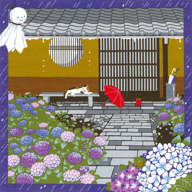 三毛猫みけの夢日記 綿小風呂敷 約50cm みけの雨宿り/6月/M112-3910