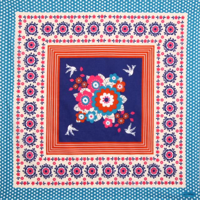 echino(エチノ) 綿風呂敷 「garden…庭」/ブルー/