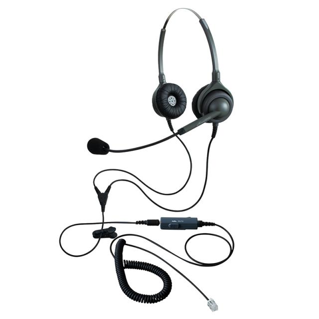 エンタープライズ製ヘッドセットパック両耳タイプ VMC3接続コード(ボリューム/ミュートスイッチ付)