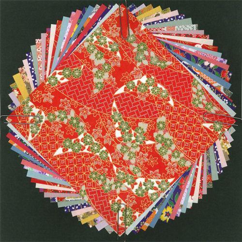 608009 民芸千代紙(特大)和紙12枚+千代紙12枚入りQT01