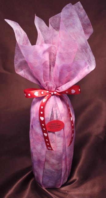 バレンタインギフト用ボトルラッピング 赤リボン(ハート)