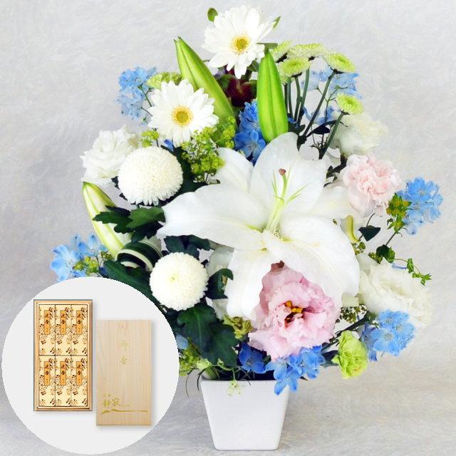 お供えアレンジメント【洋風】/進物用 沈香桐箱入 静寂 (カメヤマ)