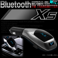 Bluetooth FM トランスミッタ— X5 ワイヤレス USB充電 ハンズフリー可能 USD マイクロSD MP3 WMA オーディオ対応 日本語取説付 12V/24V I-404