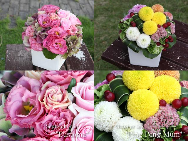 季節の花のアレンジメント「9月トルコキキョウ」「10ピンポンマム」