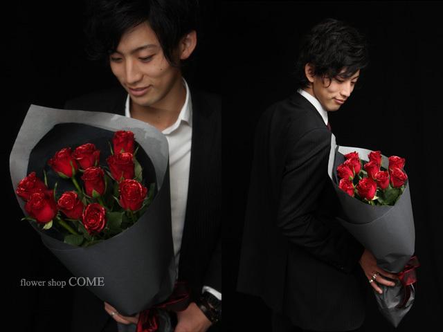 かっこいい花束(煌薔薇)赤バラの花束