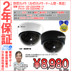 【2年保証】防犯カメラ(AHD)|ドーム型|証拠保管重視|超高画質200万画素・画角自由レンズ|ES-CD241P/V