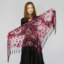 ヒップスカーフA87三角フリンジ付きペイズリー(ワインレッド)【メール便送料無料】
