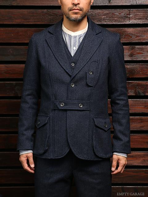 STEVENSON OVERALL CO. Huntsman Three Piece Yarn dyed indigo Herringbone tweed