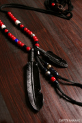 """Rooster King & Co. Carved Leather feather Necklace """"Antique Venetian Beads Custom"""" Black"""