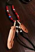 """Rooster King & Co. Carved Leather feather Necklace """"Antique WhiteHeart Custom"""