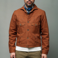 STEVENSON OVERALL CO. Slinger II - 402 RIVET PLEATED WORK JACKET Brown Selvage Canvas