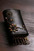 HTC Leather Key Case Flower gold black