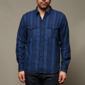 STEVENSON OVERALL CO. Smith - SM2 DOUBLE LAYERED WORK SHIRT Indigo Striped Flannel