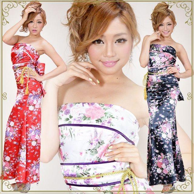 綺麗に色っぽい着こなし 和花柄ロングドレス