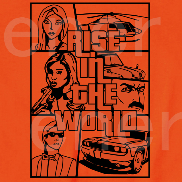 RISE IN THE WORLDプリントTシャツ