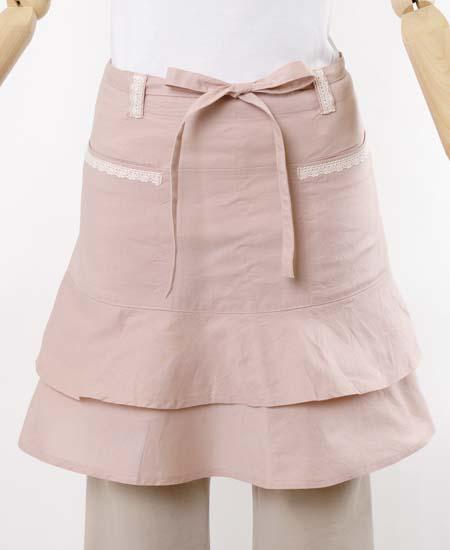 裾フリルギャルソンエプロン(綿ワッシャー)NAP3684ピンク