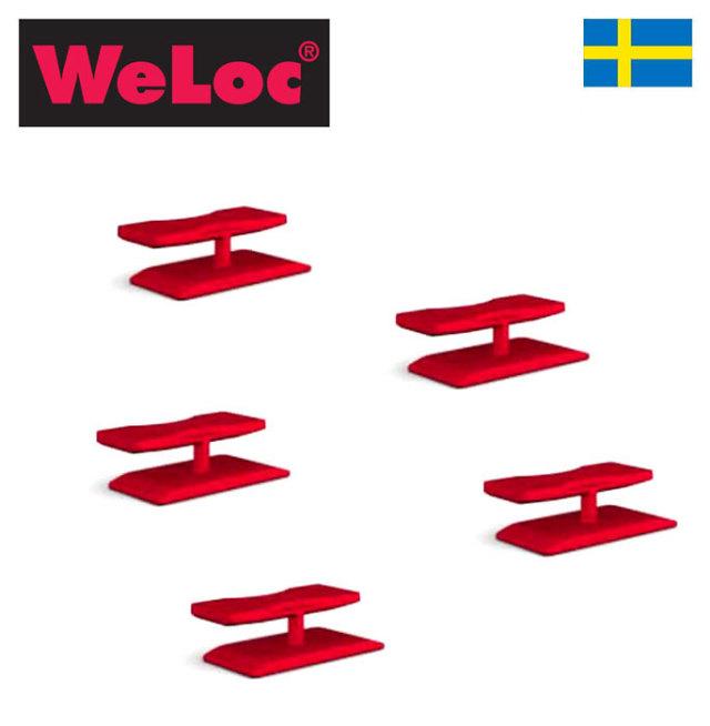 ウェーロック WeLoc クリップイット「ボックスロックBoxLoc」PA7 赤 5個セット スウェーデン製 (段ボール用クリップ、業務用)