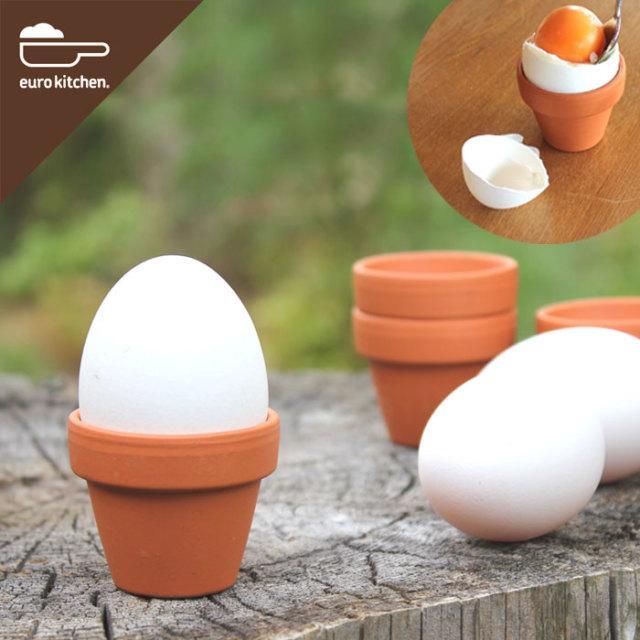 ユーロキッチン eurokitchen 素焼き鉢のエッグスタンド3個セット(Unglazed Egg Cups エッグカップ)ドイツ製【プレゼントにもおすすめ・小さい・かわいい】