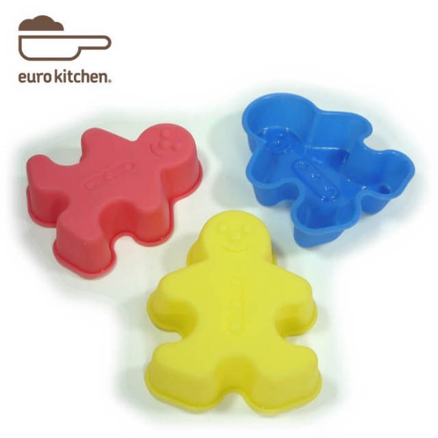 ユーロキッチン eurokitchen シリコンモールドミニ ボーイ 3点セット (赤、青、黄各1色入) ケーキ型