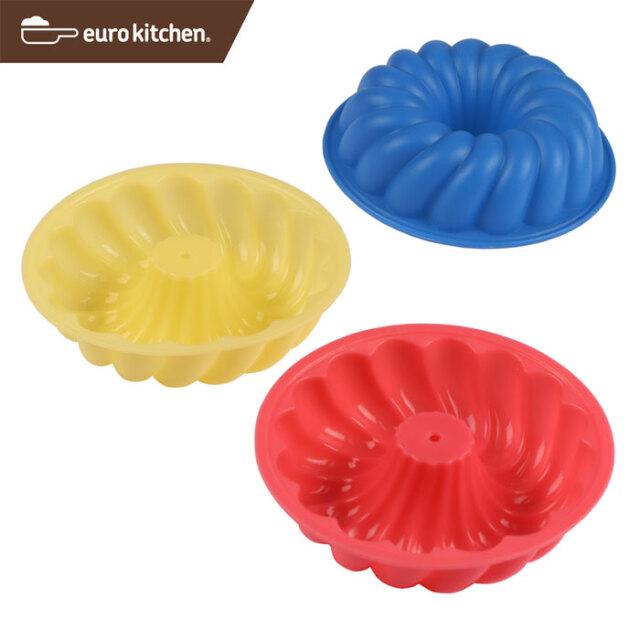 ユーロキッチン eurokitchen シリコンモールドミニ ブントクグロフ、クルーラー、ツイスター型 3点セット (赤、青、黄各1色入)