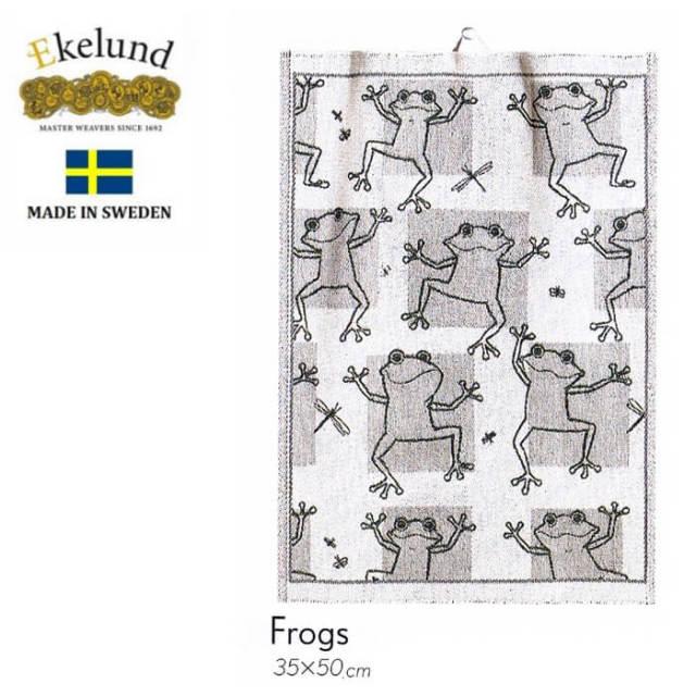 エーケルンド Ekelund FROGS (カエル) 35×50cm 【キッチンタオル/タペストリー/北欧/オーガニックコットン】 #47589