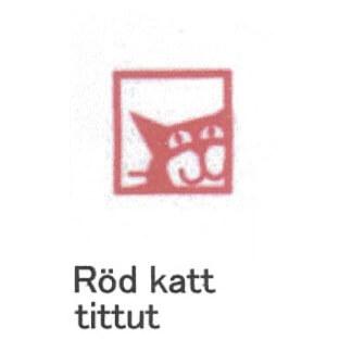 【完売】カティナット KATTINATT スポンジワイプ・キッチンワイプ(ディッシュクロス) 猫窓(赤)rod katt tittutロゴ無し