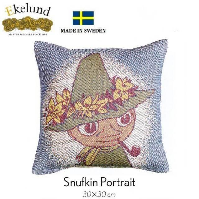 【廃番】エーケルンド Ekelund ムーミンシリーズ Moomin SNUFKIN PORTRAIT (スナフキン) 30×30cm 【クッション中綿付き】 15403