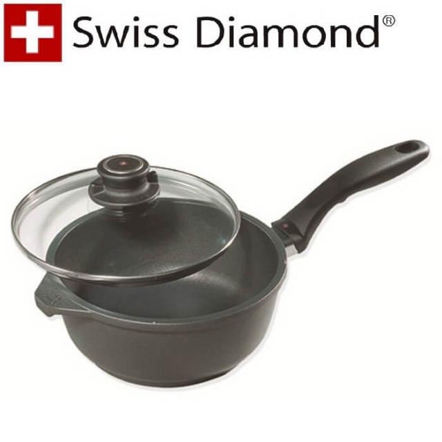 【完売】スイスダイヤモンド SwissDiamond #6716 蓋付深型片手鍋16cm【送料無料】【アウトレット・訳あり特価品】