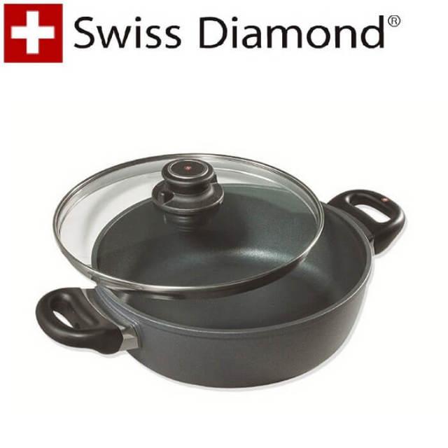 【完売】スイスダイヤモンド SwissDiamond #6824蓋付両手鍋24cm【送料無料】【アウトレット・訳あり特価品】