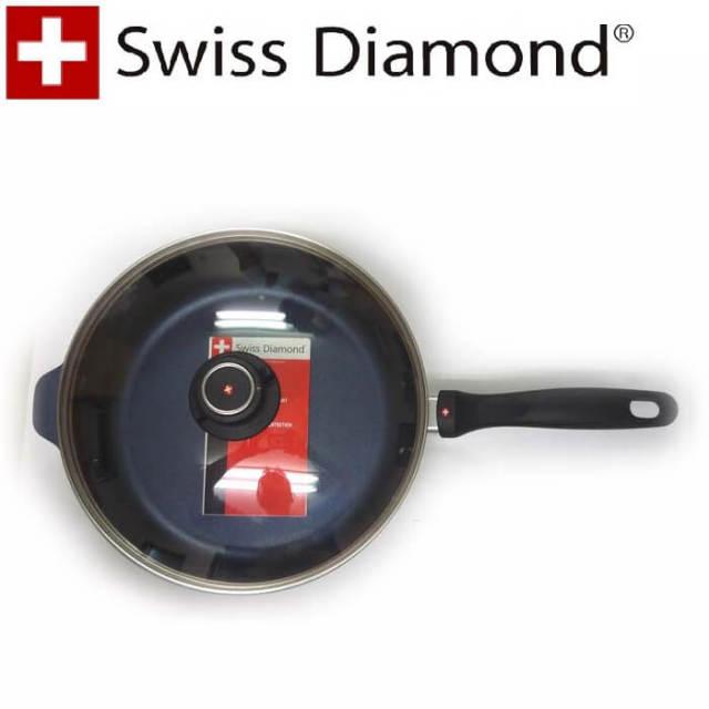 【完売】スイスダイヤモンド SwissDiamond IH深型フライパン28cm 蓋付【IH】【送料無料】【アウトレット・訳あり特価品】